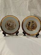 2x The Art Of Chokin Collectors Plates Etched 24k Gold Edged 7.75