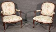 Fine Pair Of French Louis Xv Walnut Upholstered Open Bergandegravere Open Armchairs