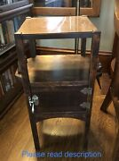 H T Cushman Vermont Humidor Smoking Stand Table Craftsman Arts Crafts Cabinet