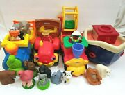 Fisher Price Little People Farm Animal Tractor And 2 Train W/ Wagon And Wheel Lot