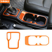 Gear Shift Panel Water Cup Holder Cover Trim For Jeep Wrangler Jl 2018-20 Orange