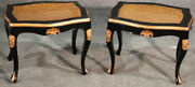 Pair Of Ebonized Black Lacquer Cane Gilded French Louis Xv Stools Benches