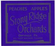 Stony Ridge Dryville Pa Apple Peaches Crate Label Wholesale Lot Of 25 Labels