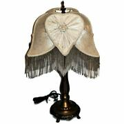 Victorian Style Dale Table Lamp With Beaded Fringed Damask Shade 24
