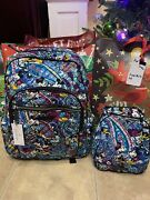 Vera Bradley Disney Mickey And Minni Celebration Paisley Backpack And Lunch Bag