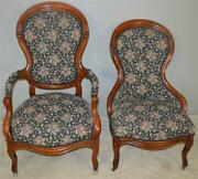 18708 Victorian Gentleman And Ladies Finger Carved Parlor Chairs