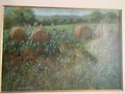 Lois Foley Pastel Of Hay Bales In Summer Vermont Listed Nice