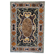 54 X 32 Pietra Dura Inlay Handcrafted Work Marble Center Table Top