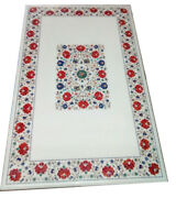 54 X 32 Marble Coffee Dining Table Top Floral Inlay Pietra Dura Handmade Work