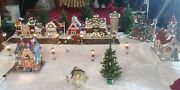 Ceramic Christmas Village-7 Buildings 5 Are Lit,10 Street Lights,outlet Switch