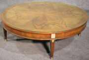 Large Round Baker French Louis Xvi Brass Mounted Coffee Table With Glass