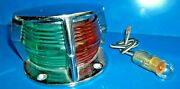 Vintage Attwood Bow Light Red / Green Split Combochrome Flagpole Open Hole