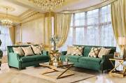 New Transitional Living Room Furniture Green Fabric Sofa Couch Loveseat Set Igdw