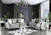 New Transitional Living Room - 2 Piece Gray Linen Textured Fabric Sofa Set Igdy