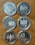 Lot Qty 6 Germany Commemorative Silver 10 Euro German Anniversary Medals