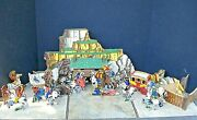 Rare 1950's Cowboy And Indian Die Cut Figures/fort Scenery