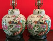 Vintage Pair Of Chinese Pottery Ginger Lamps