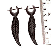 A Pair Of Black Wood Hippie Tribal Traditional Stick Wooden Earrings Sew_999