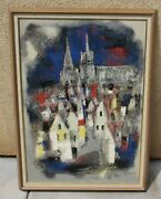 Jun Dobashi Modernist Cityscape With Cathedral Circa 1950and039s/1960and039s Original Oil