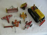 Vintage Marx Tin Litho Wind Up Caterpillar Farm Tractor W/ Implements Works Vg