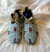 1890and039s Plains Dakota Indian Native American Beaded Moccasins Beads Hide Antique