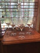 6 Crystal Romanian Etched Decanter And 6 6 Oz Matching Wine Glasses