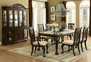 Old World Brown Finish 7 Pieces Rectangular Dining Room Set Table And Chairs Ic5p