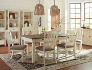 Cottage White And Brown Rectangular Table And Chairs - 7 Pieces Dining Room Set Ic1g