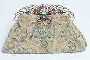 Vintage 1940andrsquos Josef Beaded Clutch Bag With Hobe Blue Pink Crystal Glass Frame
