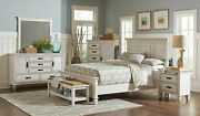 Traditional Cottage Antique White 5 Piece Bedroom With King Panel Bed Set Ia7k