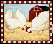 Art-print-dipaolo-animals-red-barn-chickens-on-paper-canvas-or-framed