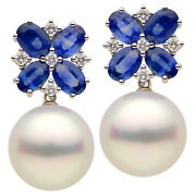 18k White Gold South Sea Pearl Sapphire/diamond Earring D-0.32 Cts S-4.60 Cts