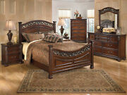 Old World Brown Wood And Metal Bedroom Furniture - 5pcs Queen Poster Bed Set Ia1e