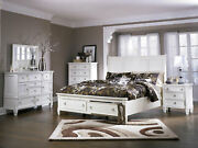 New Traditional White Finish 5 Piece Bedroom Set W/ Queen Size Storage Bed Ia2g