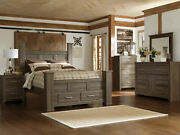New Modern Cottage Brown 5 Piece Bedroom Set W. King Poster Storage Bed Ia07