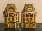 Vintage And Rare Pair Of Majolica Salt And Pepper Shakers