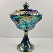 Indiana Glass Iridescent Blue Carnival Glass Harvest Grape Wedding Bowl And Cover