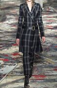 Alexander Mcqueen 2017 Black Gray Wool Blend Plaid Pleated Belted Womenandrsquos Coat