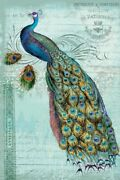 Art-print-ophelia-and-co-animals-peacock-teal-nouveau-1-on-paper-canvas-or-fram