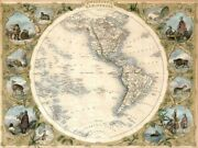 Art-print-tallis-maps-map-of-the-western-hemisphere--1850-on-paper-canvas-or-fr