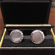 Dunhill Genuine Silver Mother Opal Cufflinks Accessories Mens W/box Used Good