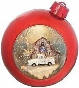 Roman 7 Led Christmas Ornament Snow Globe With White Ford Truck