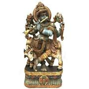 Se Hand Carved Painted Krishna 1500