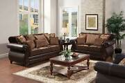 Old World Living Room Wood Trim Brown Leatherette And Fabric Sofa Couch Set Ircr