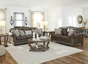 Old World Wood Trim And Brown Leather Living Room Furniture Sofa Couch Set Ig0a