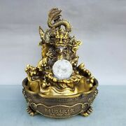 11'' Brass Copper Home Feng Shui Wealth Treasure Dragon Play Crystal Ball Statue