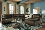 Living Room Furniture Brown Fabric 6pcs Reclining Sectional Sofa Chaise Set If1v