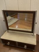 Vintage Antique Shaving Stand Tilting Wood Mirror 2 Drawer S Brown And Blue Gray