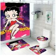 Betty Boop Pink And Purple Bathroom Shower Curtain Toilet Seat Cover Rug Set