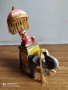 Rare Old Air India Mascot Maharajah On Elephant Showpiece Of 70's Made In India.